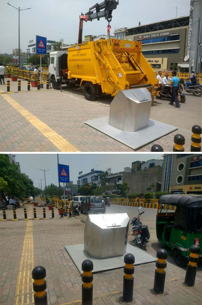 India's first Underground Bin System has been set up in Surat in conjunction with Jigar Corporation and Kam-Avida Enviro Engg Pvt Ltd. Here are some photos of Indias first ever underground bin system.